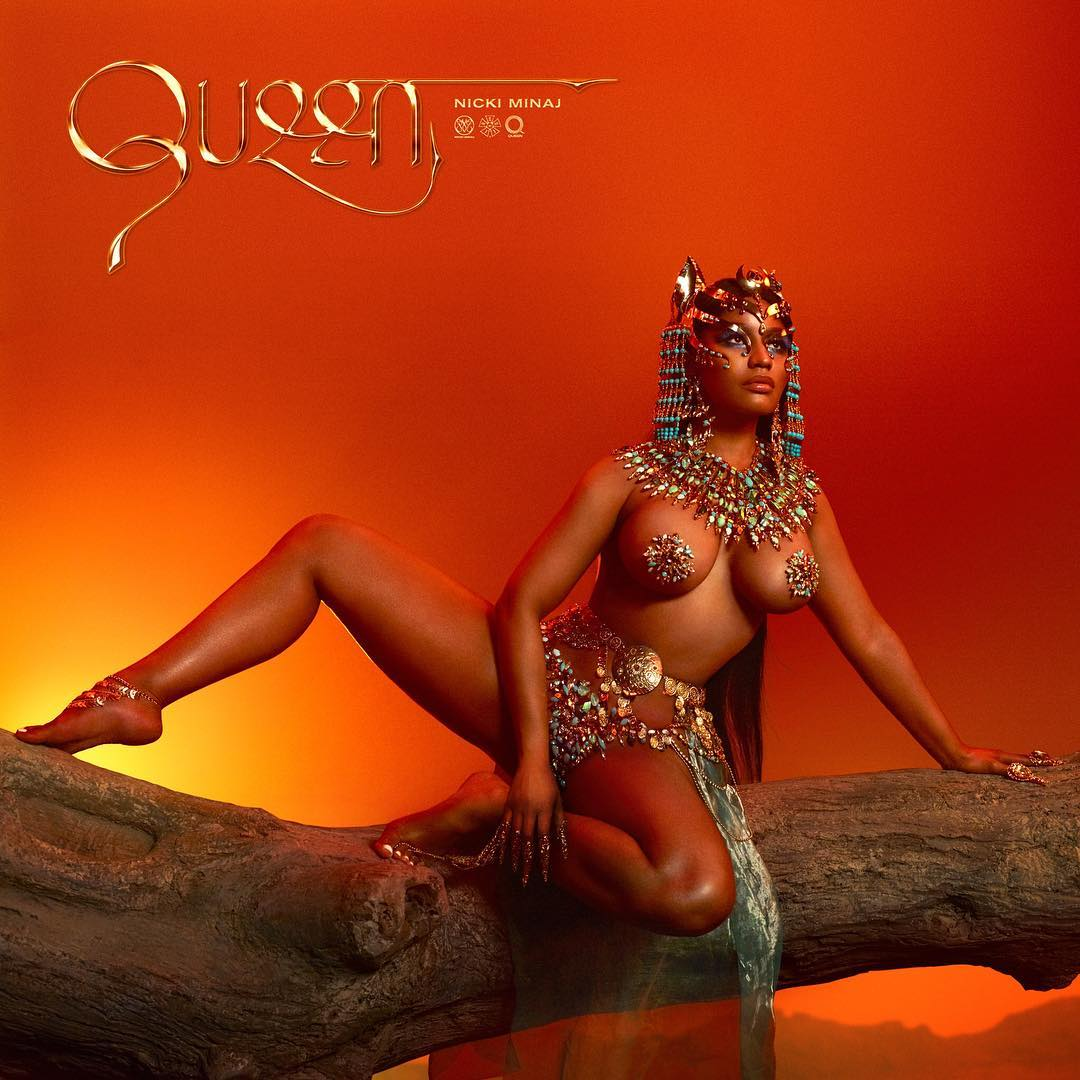 Nicki Minaj topless Queen cover