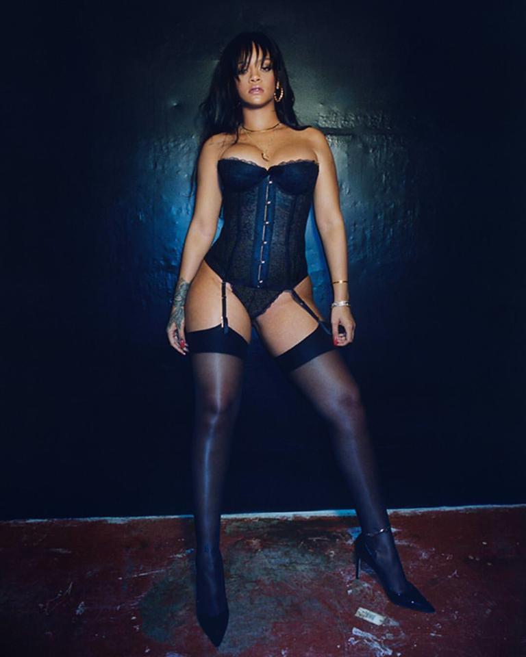 Rihanna lingerie thigh highs