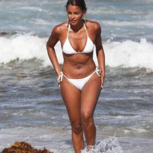 Claudia Jordan white bikini pic